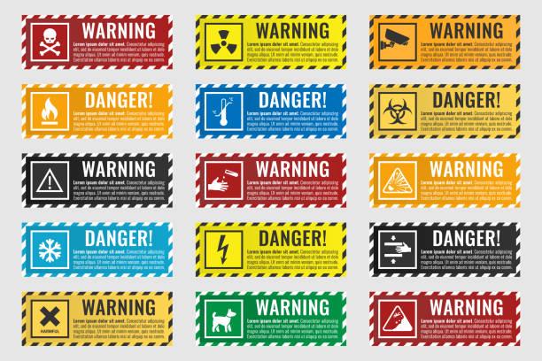 위험-화재, 높은 전압, 독성, 온도의 징후 경고 - 독성 물질 stock illustrations