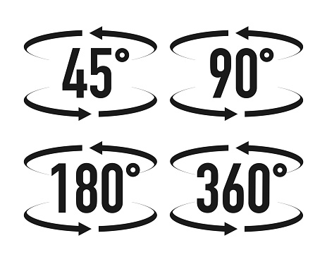 Signs with arrows to indicate the rotation or panoramas to 45, 90, 180 and 360 degrees. Vector illustration