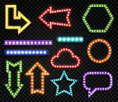 Signs with lamps. Realistic glowing symbols of different forms. Blue, red and yellow neon bulbs marketing frame for title lighting advertising vector border set