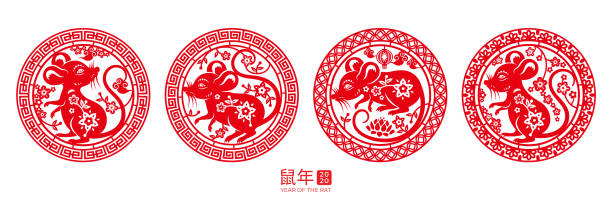 Signs with rat for happy 2020 chinese new year. Set of isolated round signs with rat for happy 2020 chinese new year. Mouse in circle for china zodiac holiday or CNY. Papercut insignia for lunar calendar. Decoration or ornament with calligraphy chinese yuan note stock illustrations