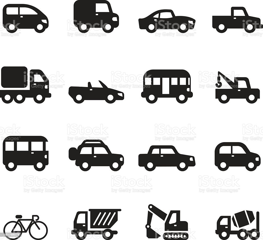 Sihouette car icons set vector art illustration