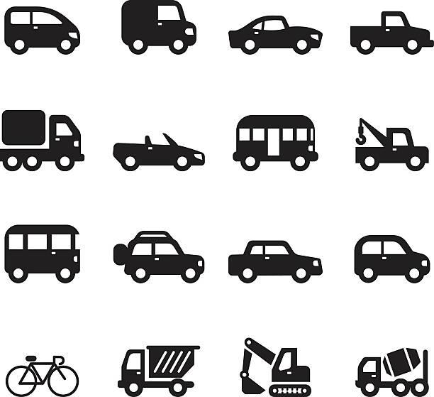 Sihouette car icons set vector art illustration