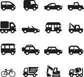 Sihouette car icons set