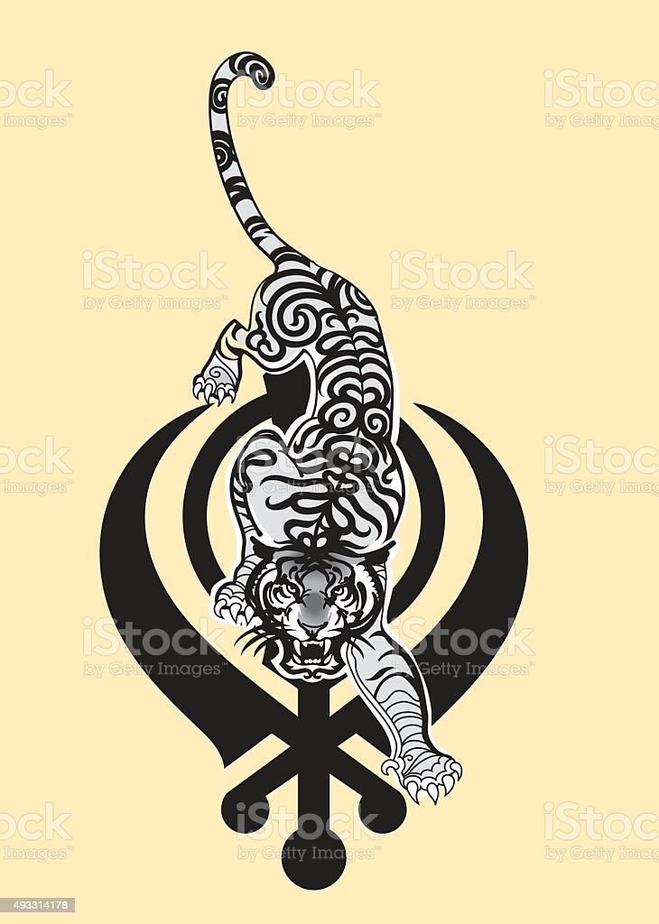 Sikh arm. Indian Tiger. Vector vector art illustration