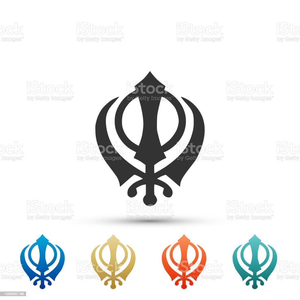 Sikhism Religion Khanda Symbol Icon Isolated On White Background
