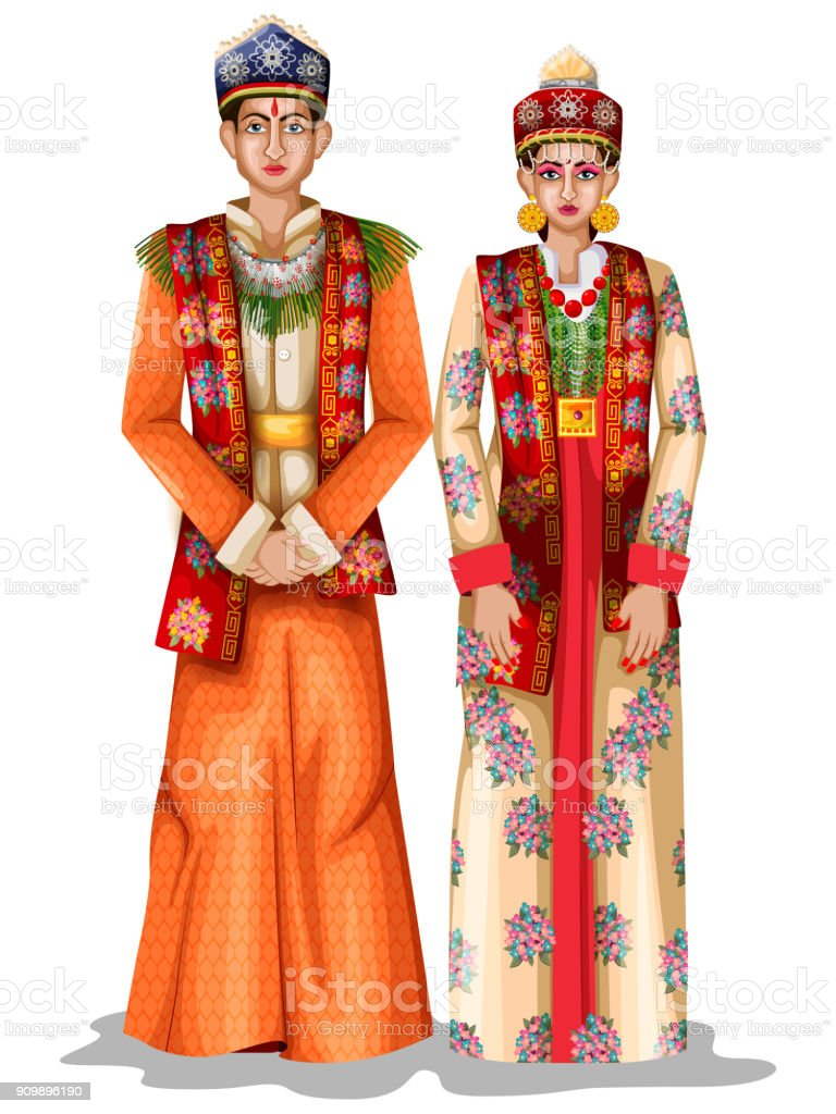 c751ea675d Sikkimese wedding couple in traditional costume of Sikkim, India  royalty-free sikkimese wedding couple