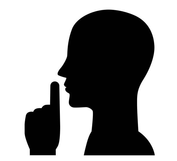 Silent gesture, sign, symbol, illustration Silent gesture, sign, symbol, illustration, finger, lips stealth stock illustrations