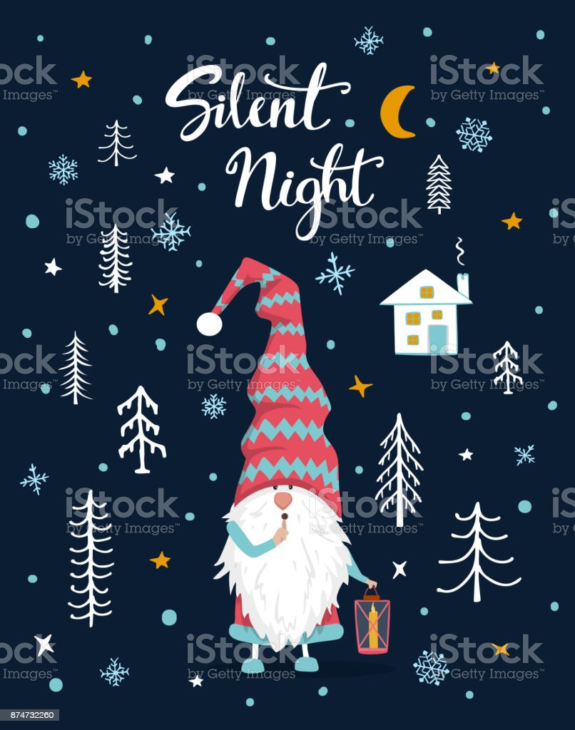 Silent Night Handwritten Hand Drawn Xmas Merry Christmas