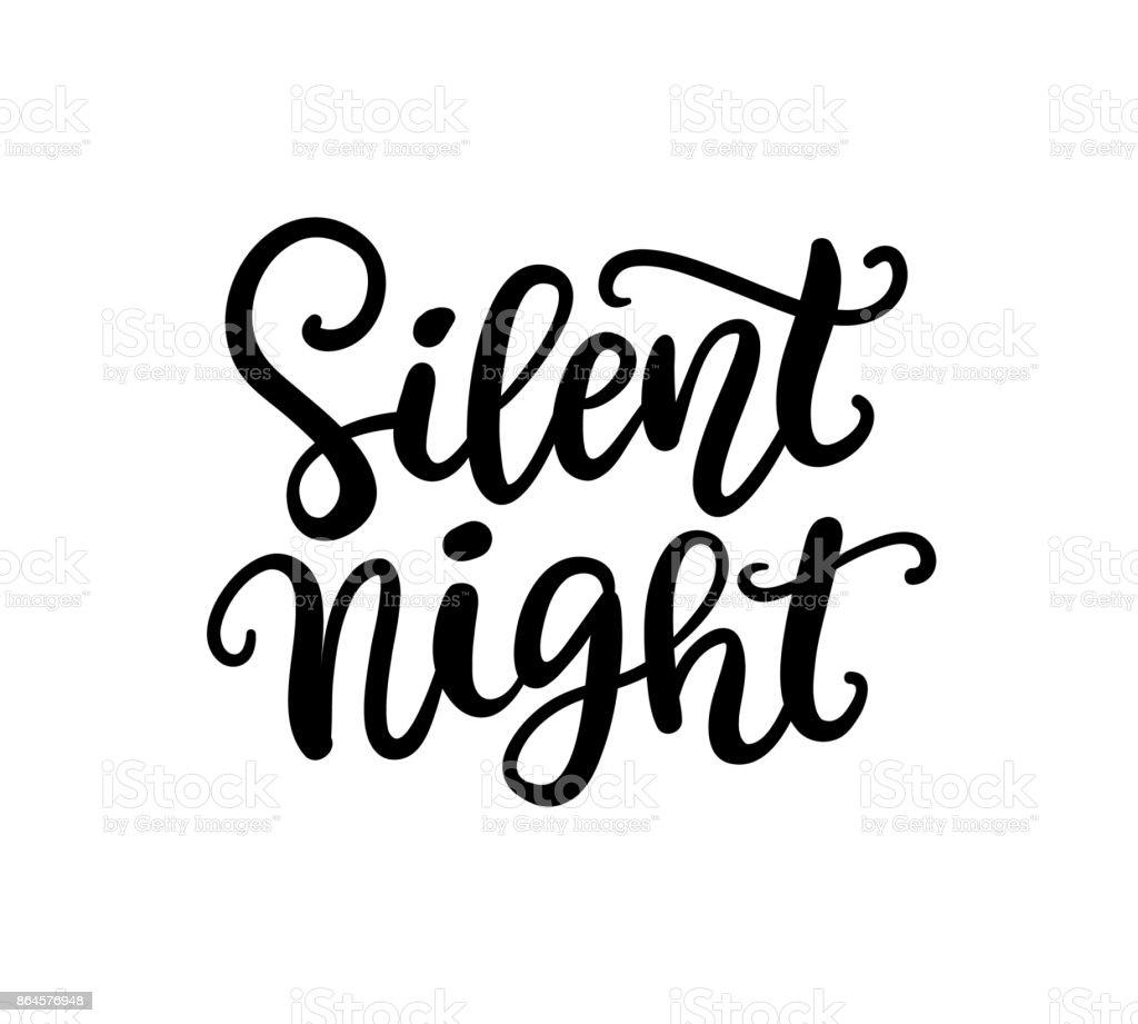 Silent Night phrase. Christmas ink lettering vector art illustration
