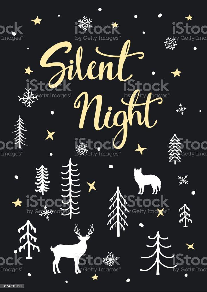 cartel de fondo Navidad feliz de noche de Navidad con letras de mano, historieta bosque arbolado y siluetas de ciervos y lobo, - ilustración de arte vectorial