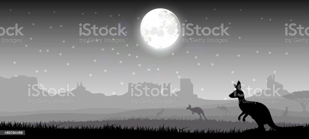 Silhouette a kangaroo the feeding in the bright night vector art illustration