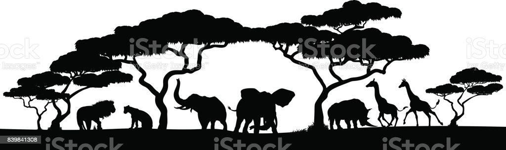 Silhouette African Safari Animal Landscape Scene vector art illustration