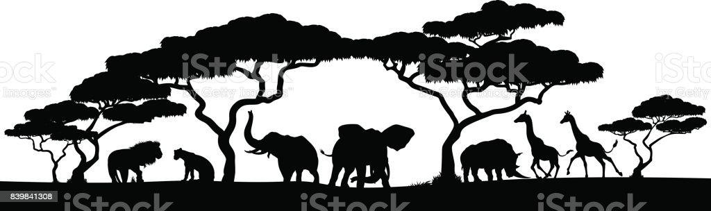 Escena de paisaje animales de Safari en África silueta - ilustración de arte vectorial
