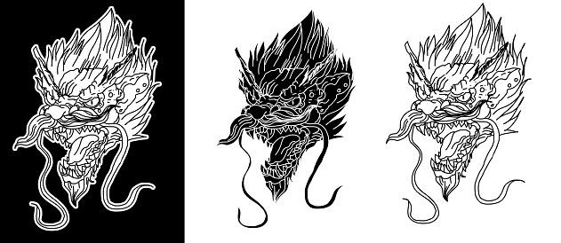 Silhouette And Hand Drawn Dragon Head Tattoosticker Dragon