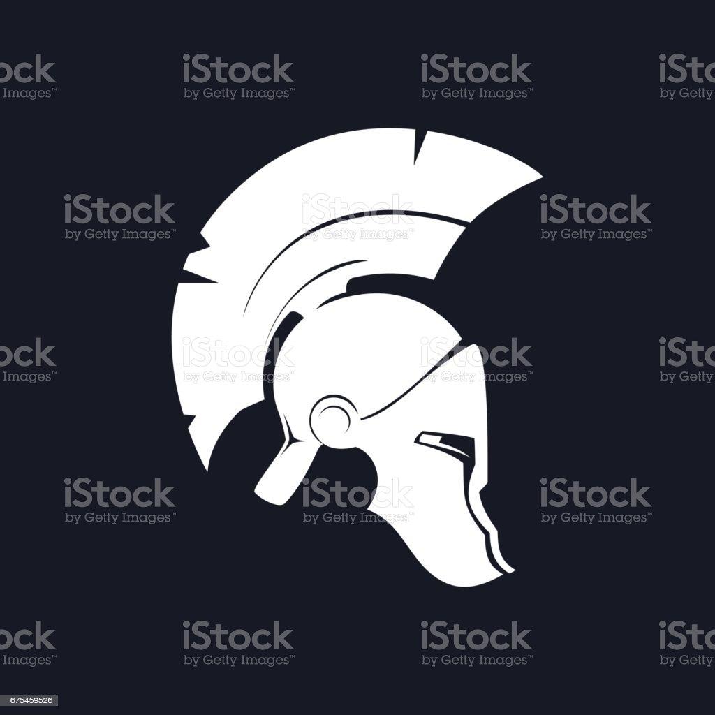 Silhouette Antiques Roman Helmet vector art illustration
