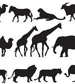 Silhouette art of wild animals in black on white