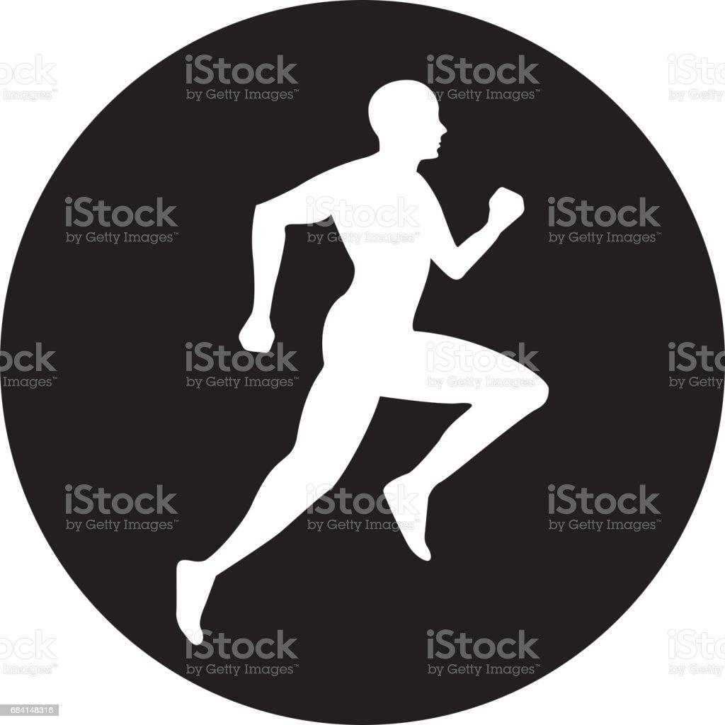 silhouette athlete running icon silhouette athlete running icon - immagini vettoriali stock e altre immagini di adulto royalty-free