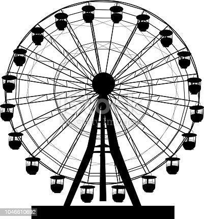 Silhouette atraktsion colorful ferris wheel on white background illustration.