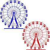 Silhouette atraktsion colorful ferris wheel.
