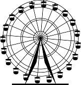 Silhouette attraction  ferris wheel.