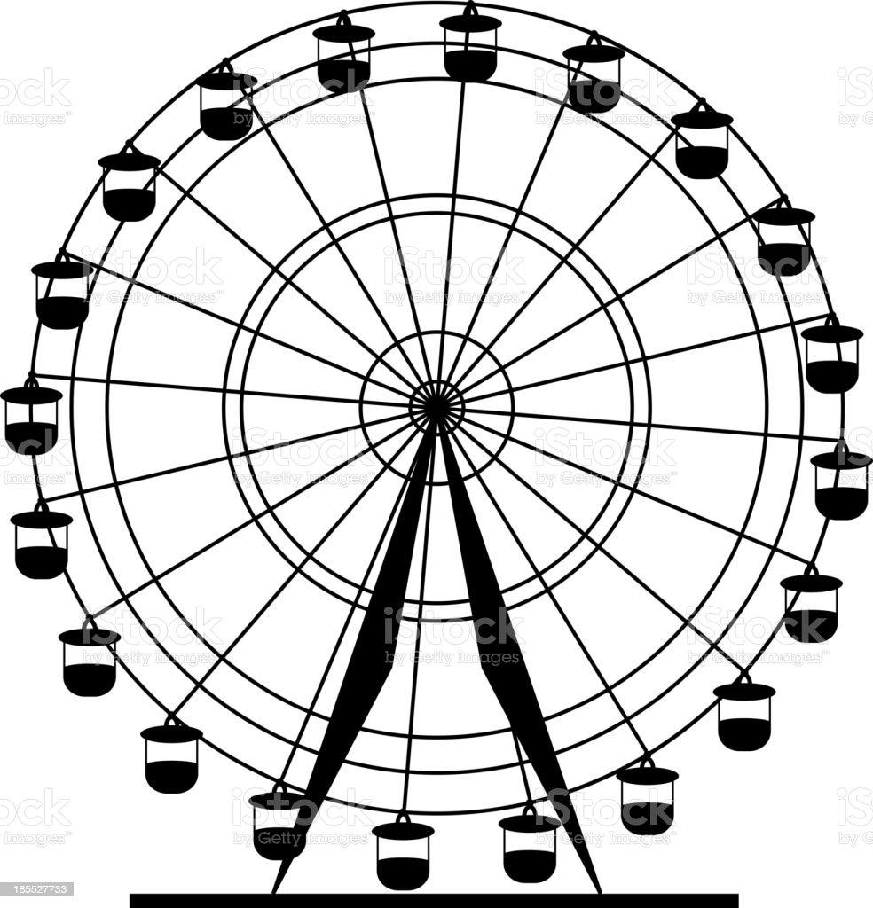 Silhouette attraction  ferris wheel. vector art illustration