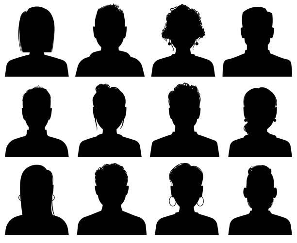 剪影頭像。人員辦公室專業檔案,匿名負責人。女性和男性面對黑色肖像圖示,向量集 - 女性 幅插畫檔、美工圖案、卡通及圖標