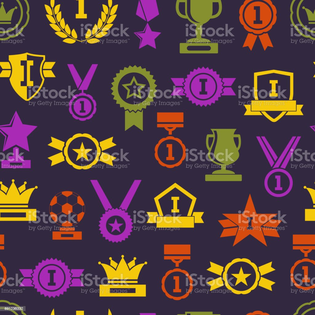 Silhouette Awards Seamless Pattern Background. Vector vector art illustration