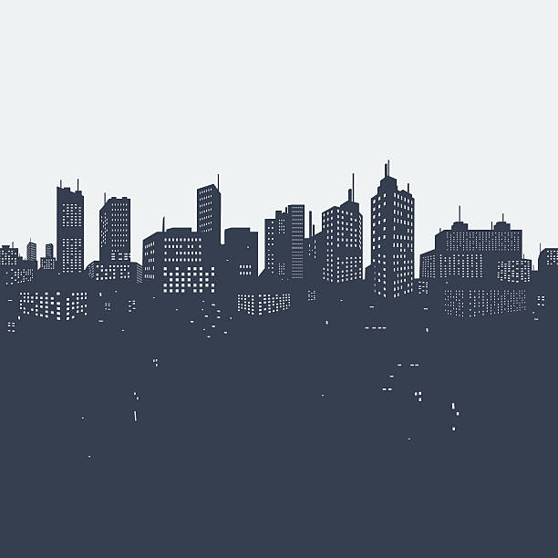 silhouette background city - cityscape stock illustrations