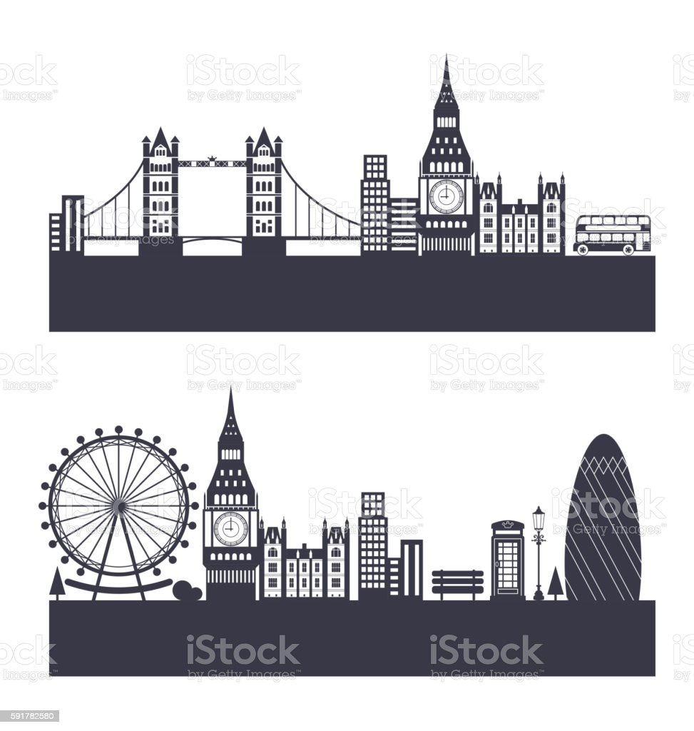 Silhouette Background Of Abstract London Skyline Royalty Free Stock