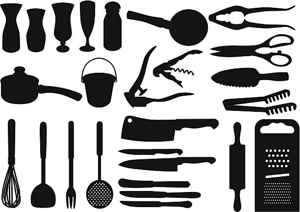 Silhouette - Bakeware, Baking, cooking tools (Set#4) A set of cooking utensils rolling pin stock illustrations