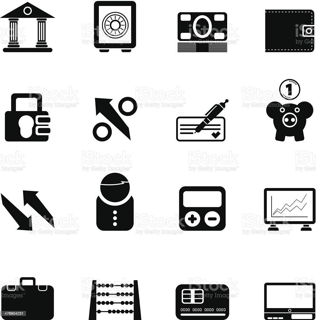 3f53ab743b Silhouette di banca, business e finanza icone silhouette di banca business e  finanza icone -