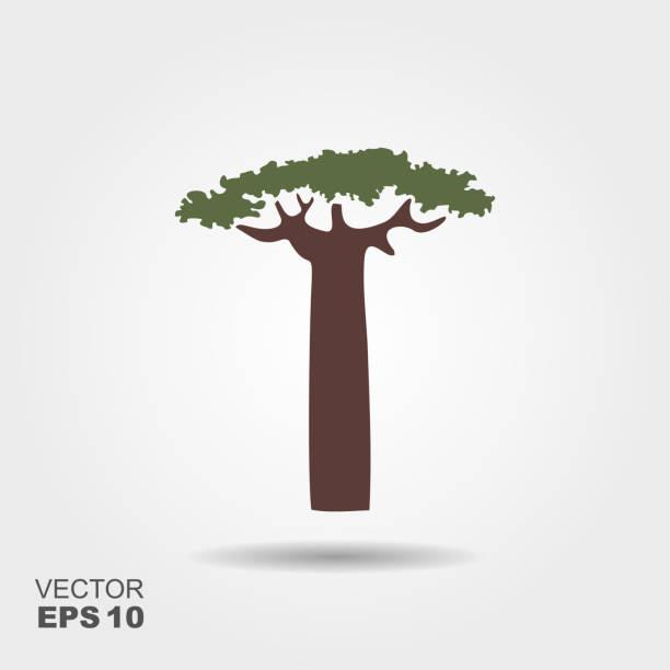 Árbol de baobab de silueta. Icono de estilo plano con sombra - ilustración de arte vectorial