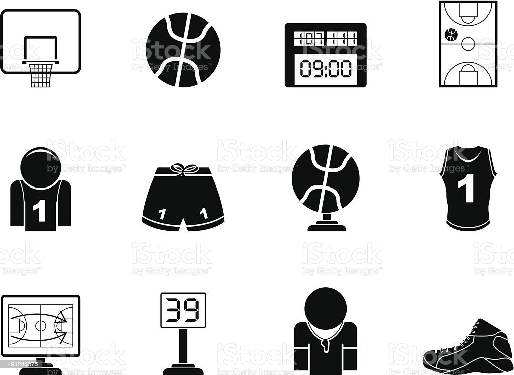 Silhouette Basketball and sport icons vector art illustration