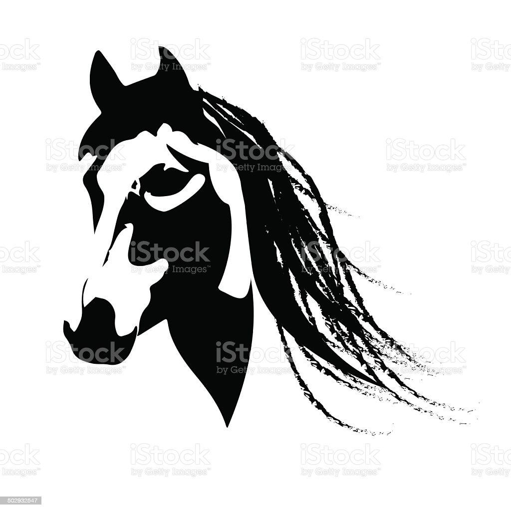 Silhouette beautiful Arabian horse vector art illustration