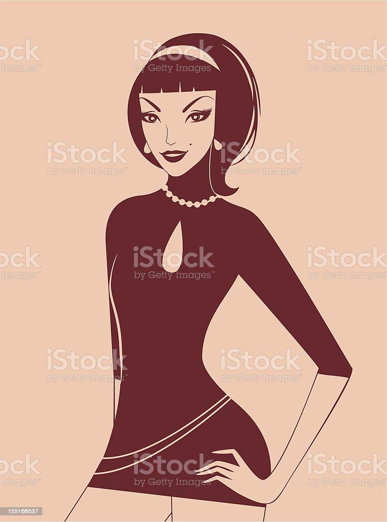 Silhouette beauty girl royalty-free stock vector art