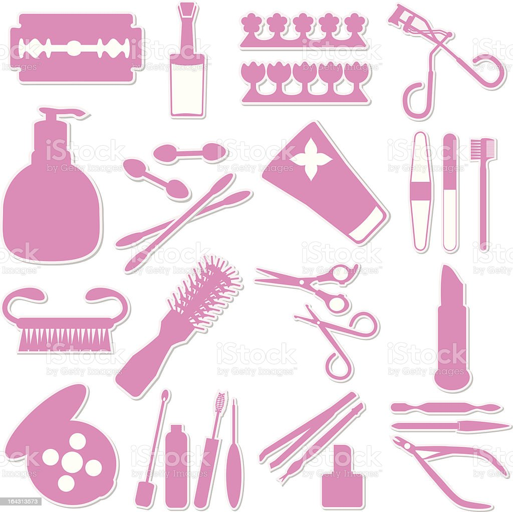 Silhouette - Beauty tools, Cosmetics (vector Set#2) royalty-free stock vector art