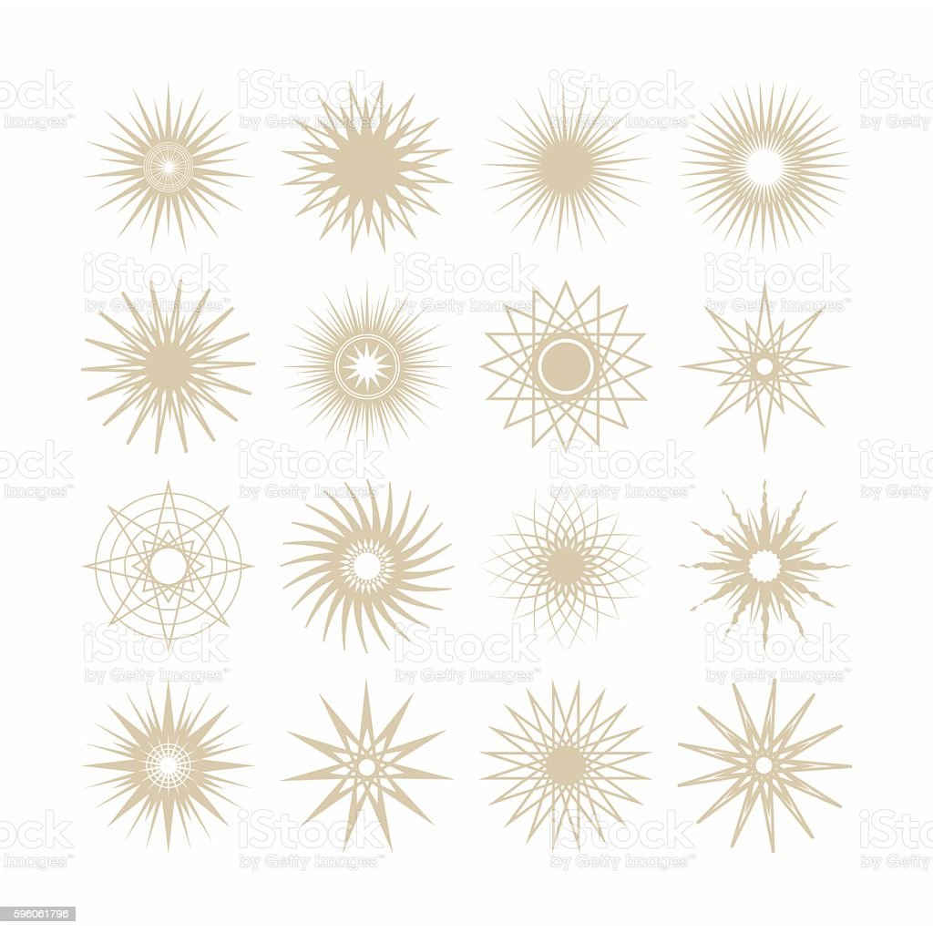 Silhouette beige poly gram stars icons set on white background vector art illustration