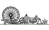 Silhouette Black Amusement Park Attraction Leisure in City Concept Element Web Design Style. Vector illustration