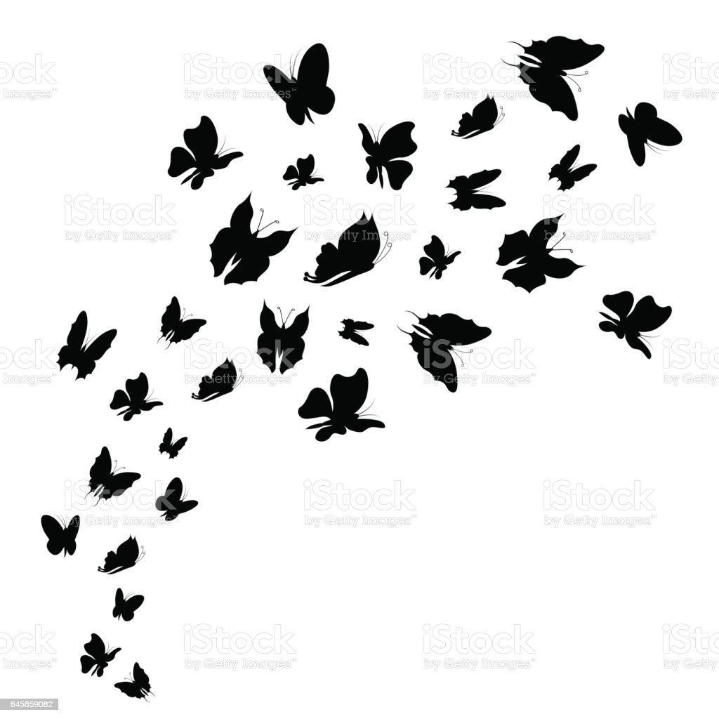 Silhouette Black Fly Flock Of Butterflies. Vector vector art illustration