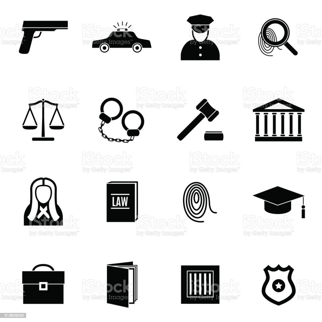 Silhouette Black Law and Justice Icon Set. Vector vector art illustration