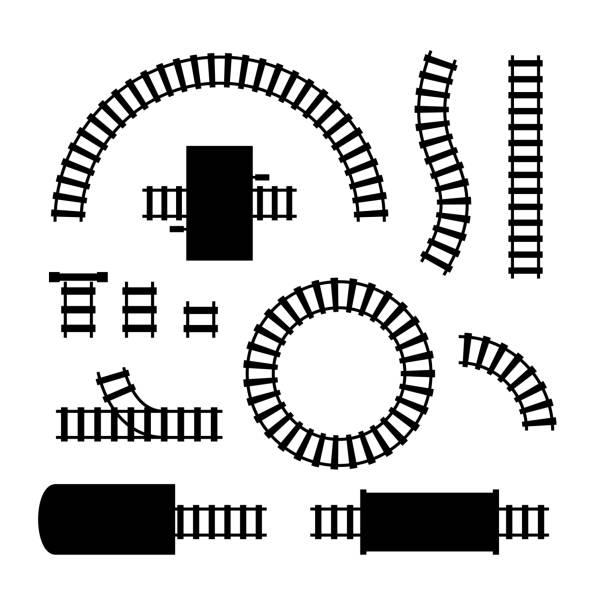 illustrations, cliparts, dessins animés et icônes de ensemble de pièces d'éléments de chemin de fer noir de silhouette. vecteur - voie ferrée