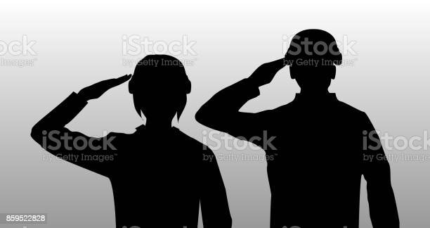 Silhouette black salute men and women soldier vector id859522828?b=1&k=6&m=859522828&s=612x612&h=zfuuxlifxv9je 8cemmqqjhrchmqmgbqsl0dy6teo s=