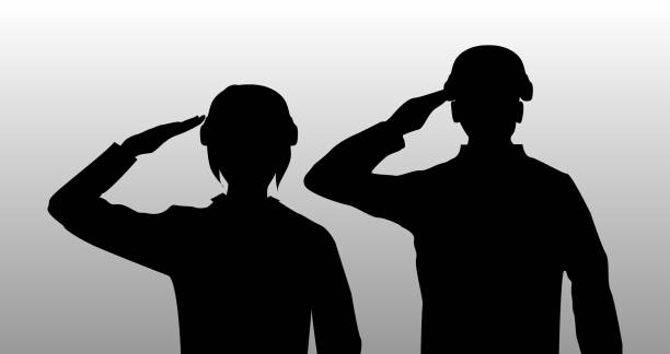silhouette black salute men and women soldier vector art illustration