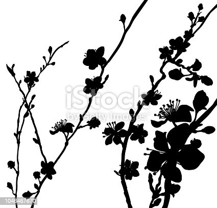 Peach or cherry blossom flowers tree silhouette. Abstract background pattern Japanese or Chinese style spring floral fashion design.