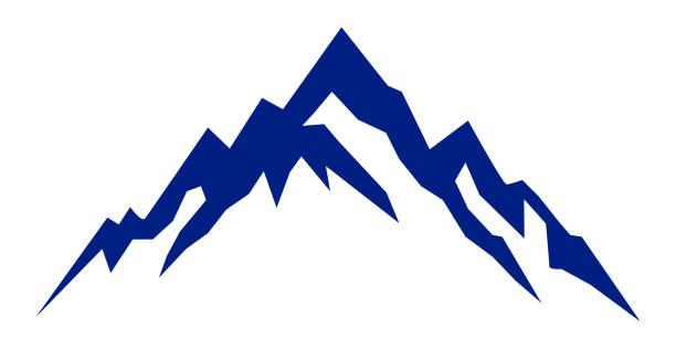 illustrazioni stock, clip art, cartoni animati e icone di tendenza di silhouette blue mountain on white background – for stock - monte bianco