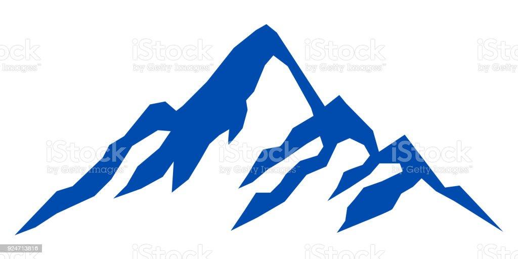 Silhouette blue mountain on white background – stock vector vector art illustration