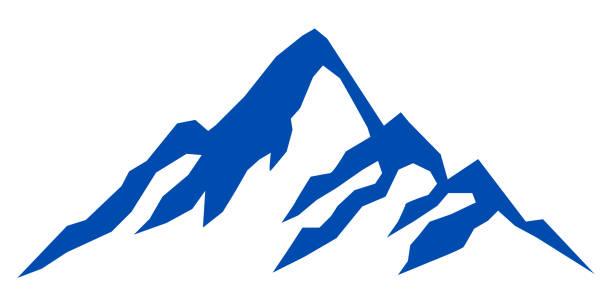 illustrazioni stock, clip art, cartoni animati e icone di tendenza di silhouette blue mountain on white background – stock vector - monte bianco