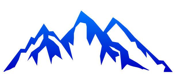 illustrazioni stock, clip art, cartoni animati e icone di tendenza di silhouette blue mountain with three peaks on white background – for stock - monte bianco