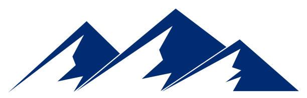 illustrazioni stock, clip art, cartoni animati e icone di tendenza di silhouette blue mountain with three peaks on white background – vector - monte bianco