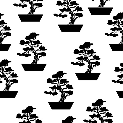 Silhouette bonsai seamless pattern, ornate tree in a pot on a white background